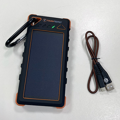 image of Mizco Portable Solar Charger with USB-A to USB-C cable.