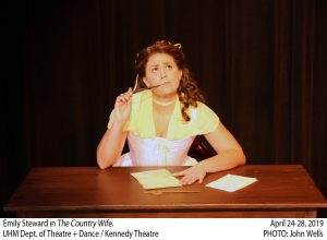 Emily Steward as Mrs. Pinchwife looking up while writing letter; The Country Wife; April 24-28, 2019; UHM Department of Theatre and Dance, Kennedy Theatre; Photo by John Wells