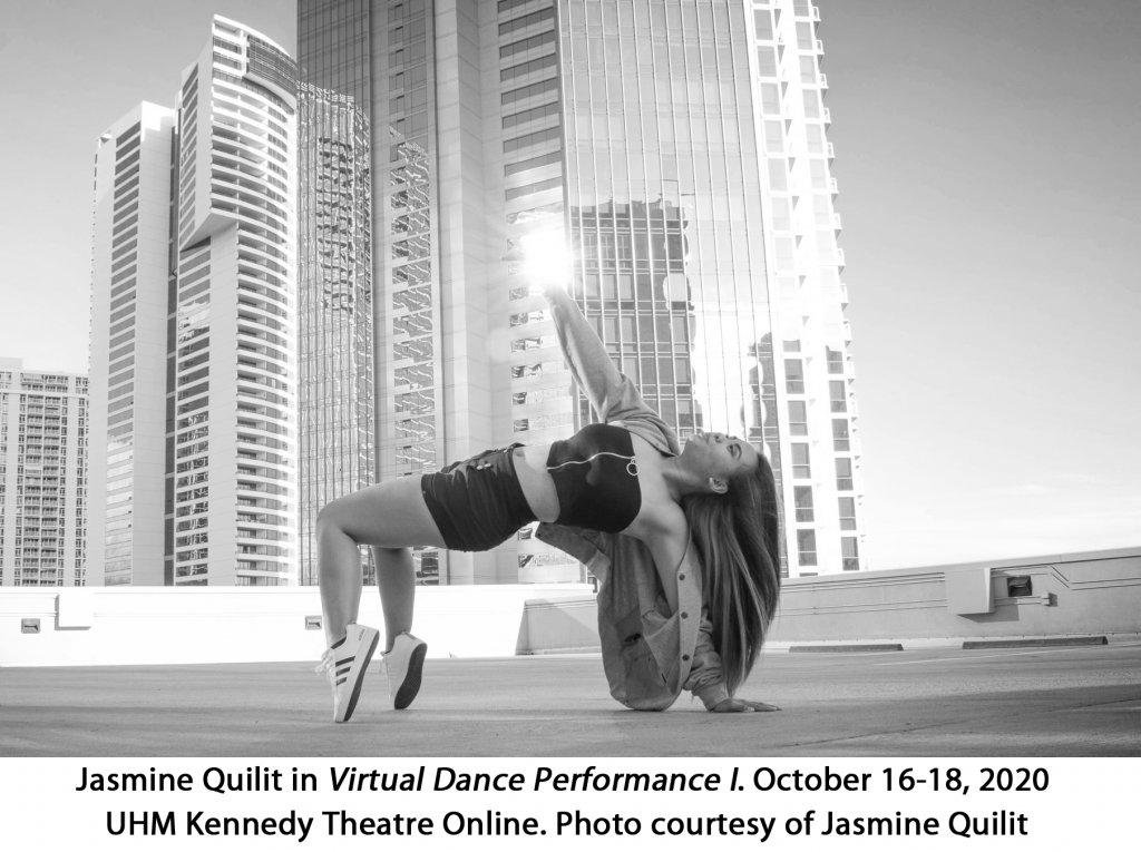 Jasmine Quilit, Virtual Dance Performance I, October 16-18, 2020. UHM Kennedy Theatre Online. Photo Courtesy of Jasmine Quilit. Black and white photo of dancer dancing on flat rooftop with skyscrapers in the background.
