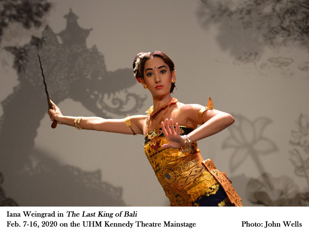 """Ianan Weingrad in """"The Last King of Bali"""" Feb. 7-16, 2020 on the UHM Kennedy Theatre mainstage. Photo by John Wells"""
