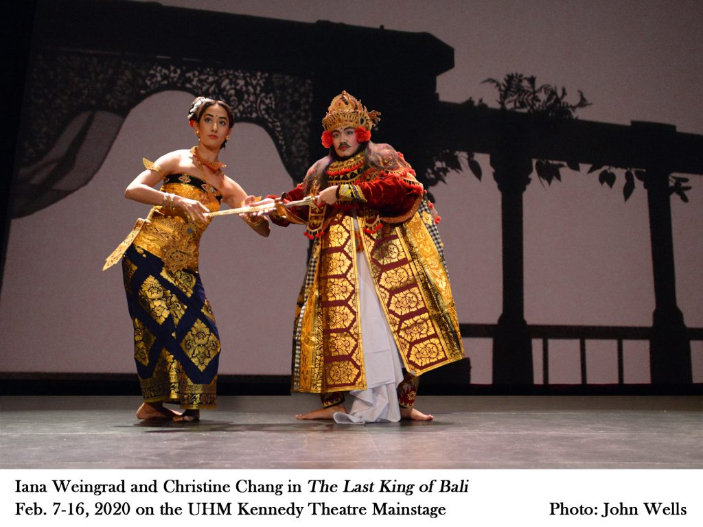 """Iana Weingrad and Christine Chang in """"The Last King of Bali"""" Feb. 7-16, 2020 on the UHM Kennedy Theatre mainstage. Photo by John Wells"""