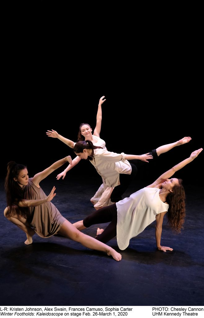 Pictured: Kristen Johnson, Alex Swain, Frances Camuso, Sophia Carter PHOTO: Chesley Cannon Winter Footholds: Kaleidoscope on stage Feb. 26-March 1, 2020                    UHM Kennedy Theatre, Dancers in abstract positions, legs and arms extended.