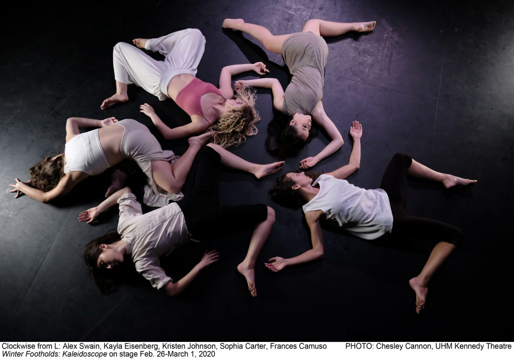 Pictured: Alex Swain, Kayla Eisenberg, Kristen Johnson, Sophia Carter, Frances Camuso PHOTO: Chesley Cannon, UHM Kennedy Theatre. Winter Footholds: Kaleidoscope on stage Feb. 26-March 1, 2020. 5 dancers lying on floor in circle in angled positions.