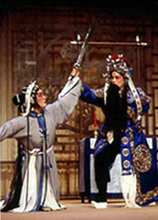Two performers in battle as part of the Asian Theatre focus