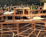 Set Construction; wooden beams and platforms