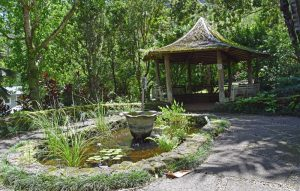 The Young Memorial Garden has a small pond and gazebo