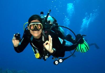 Scuba diver giving OK sign