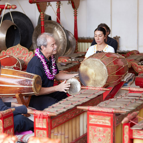 Gamelan, one of dozens of Western and World music ensembles, rehearses under Byron Moon's direction.
