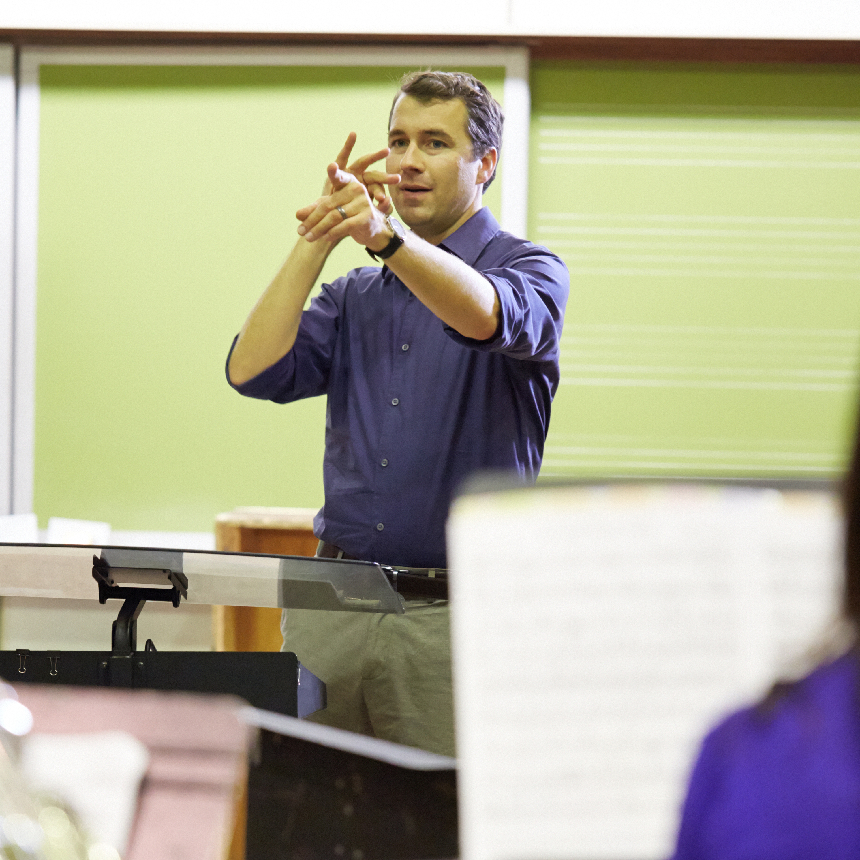 Composition professor Dr. Thomas Osborne rehearses the Contemporary Music Ensemble