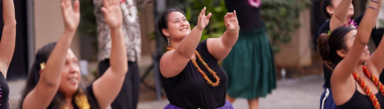Hula dancers at a Pau Hana performance