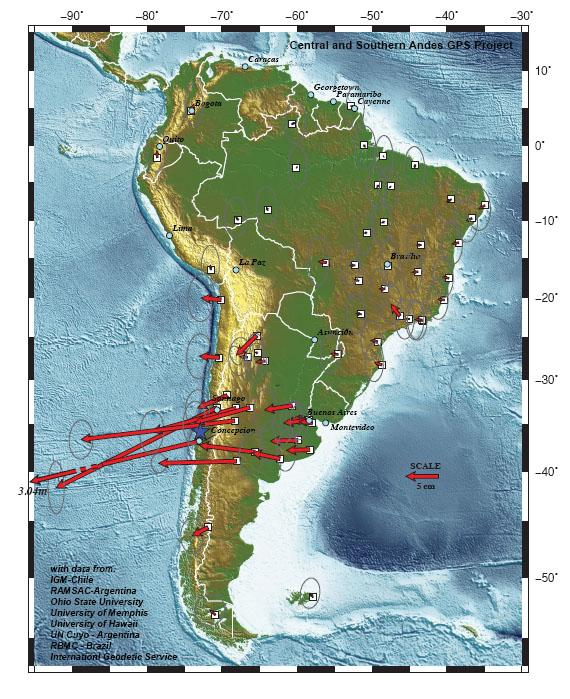 Mnoa uh mnoa researchers help show how far south american cities map of south america showing the permanent ground motion due to the 2010 chile earthquake gumiabroncs Images