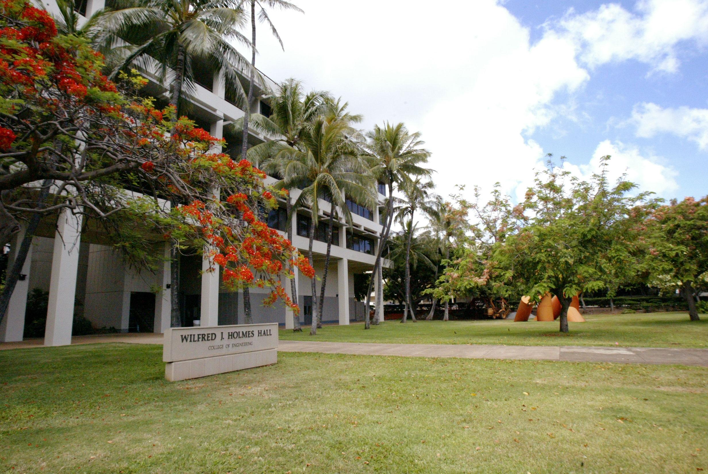 Holmes Hall, which houses the College of Engineering at the UHM campus.