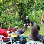 Kiana Frank teach an EA field school class outside at Kapuna Farms