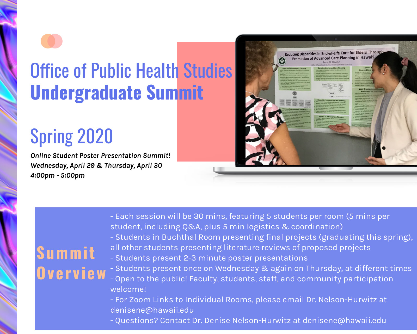 Spring 2020 Undergraduate Summit Flyer (4/29 & 4/30 from 4:00 - 5:00pm)