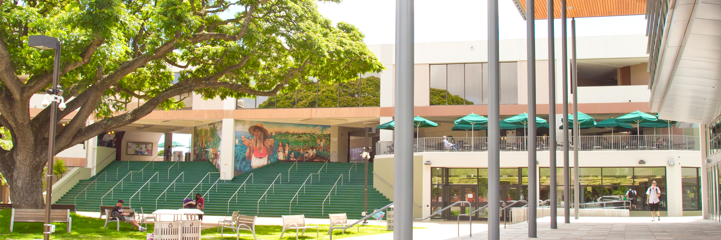 Overview of campus center, UH bookstore, coffee shops with outdoor sitting area