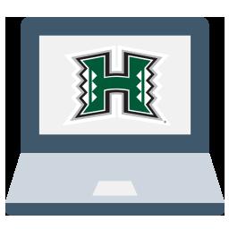 a computer displaying a UH logo