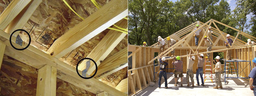 <p>Fig. 5. <em>Left to right</em>: Hurricane clips (circled) helped keep the roof on this home during Hurricane Katrina.&nbsp;Hurricane ties are already in place at the top of the wall, even as the roof is being built.</p><p>&nbsp;</p>