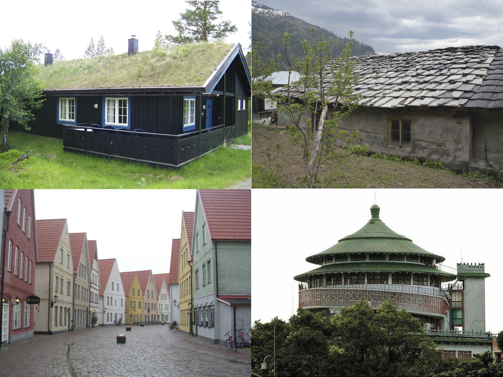 <p>Fig. 4. <em>Clockwise from top left</em>:&nbsp;A living grass roof in Norway.&nbsp;A stone roof in India.&nbsp;A round roof in Taiwan. Steep, tile roofs in Northern Europe.</p>