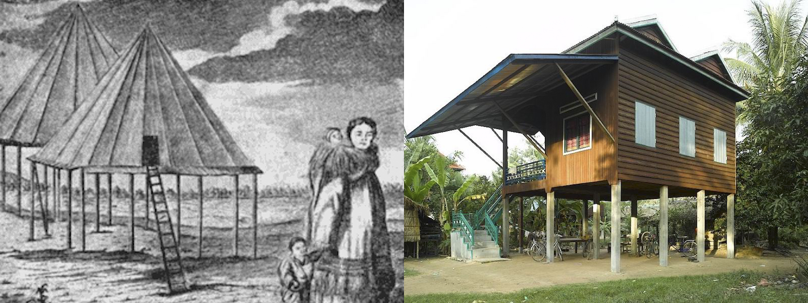 <p>Fig. 6. <em>From left to right</em>: Summer homes of indigenous Kamchatka Peninsula people. A modern stilt house in cambodia.</p>