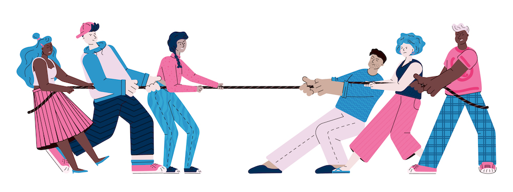 <p>Fig. 6. These two teams are playing tug-of-war. Which team will win?</p>