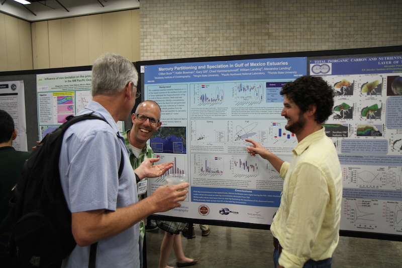<p><strong>Fig. 1.</strong> Scientists presenting a poster on mercury in the Gulf of Mexico at the 2014 Ocean Sciences conference in Honolulu, Hawai'i.</p>