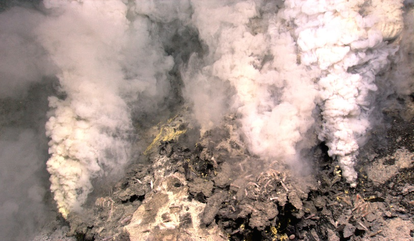 <p>Fig. 2.&nbsp;Hydrothermal vents on the Kawio Barat volcano.</p>