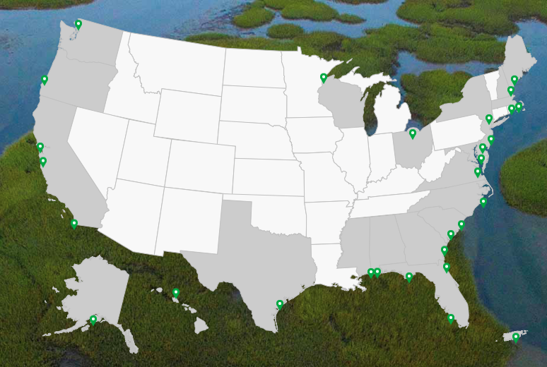 <p>Fig. 1. Map of the United States showing the designated 29 sites in the National Estuary Research Reserve System. Follow the link below to learn more about each site.&nbsp;</p>