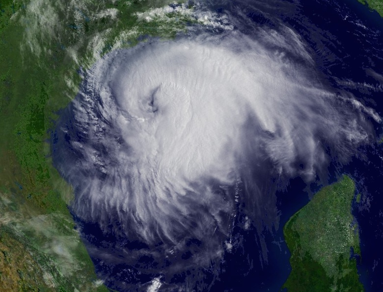 <p>Fig. 1.&nbsp;OLP 3. Hurricane Ike approaching the Texas coast on September 12, 2008.</p>