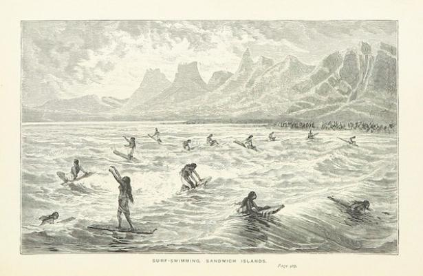 <p>Fig. 2. An image taken from 'Captain Cook's Voyages around the World' showing what surfing might have looked like at that time.</p><br />