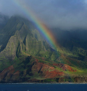 <p>Fig 3. A rainbow forms over the big island of Hawai'i after a rain storm passes through.&nbsp;</p>