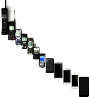 <p>Fig 2. Phones have changed a lot over time as the technology to send and recieve signals has improved.</p>