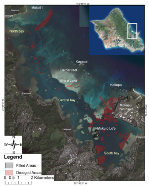 <p>Fig. 2. Moku o' Loe, or Coconut Island, sits within Kāne'ohe Bay, and is the home of the Hawai'i Institute of Marine Biology.</p>