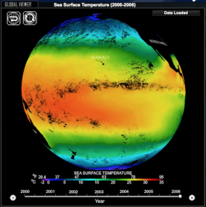 <p>Fig. 2. A snap shot of Sea Surface Temperatures (SST) in 2006. For an interactive exploration of SST change from 2000-2006, follow the NOAA link below. (Note: Flash required to run animation.)</p>