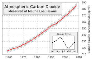 <p>Fig. 1.&nbsp;The Keeling curve, which shows measured levels of atmospheric carbon dioxide measured at Mauna Loa, Hawai'i.</p><br />