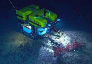 <p>Fig 1. OLP 7. The ROV (Remotely Operated underwater Vehicle) Hercules recovers an experiment in 2004 that was deployed a year earlier by the DSV (Deep Submergence Vehicle) Alvin submersible on the New England Seamount Chain.</p><br />