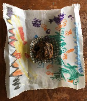 <p>Fig 2. Beeswax wrap prepared to wrap a muffin.</p>