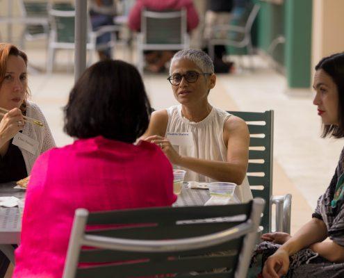 Nandita Sharma, Clare Hanusz, Marielena Hincapie talking