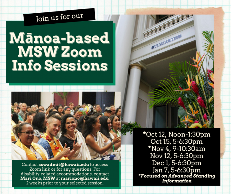 Manoa based MSW Zoom Info Sessions flyer