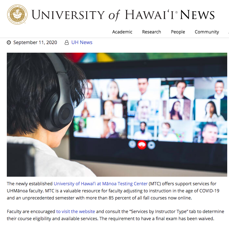 UH News Announcement on MTC