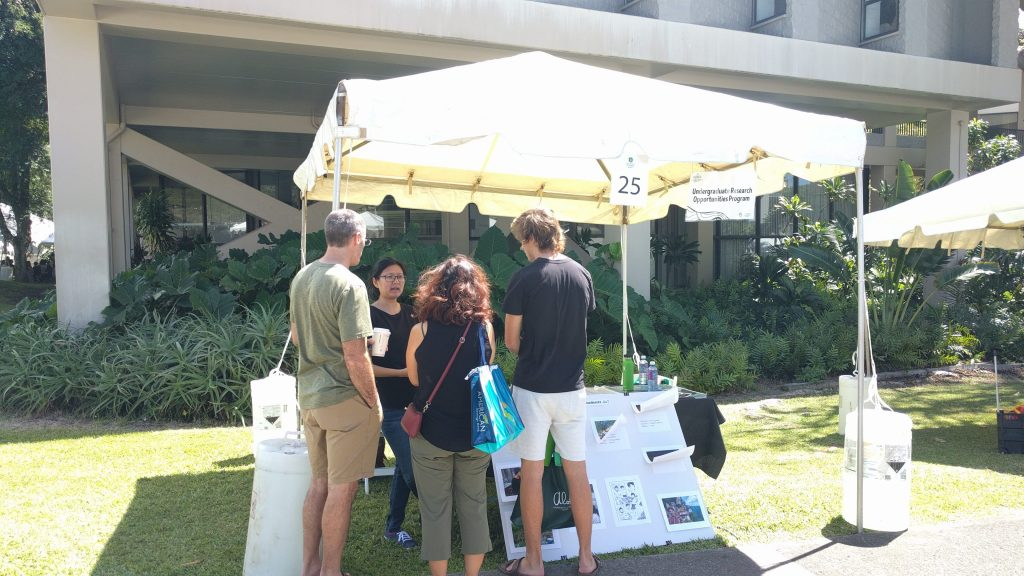 Prospective students and parents visit UROP's booth at Manoa Preview Day