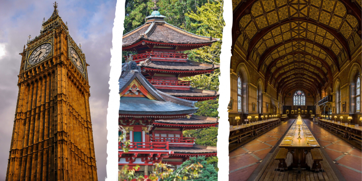 Images of Big Ben, a temple in Asia, and University of Oxford