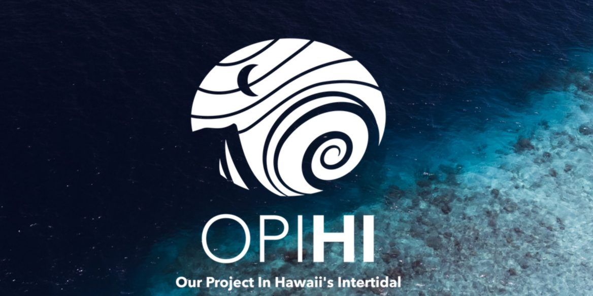 Our Project in Hawaii's Intertidal (OPIHI) logo with sea floor background