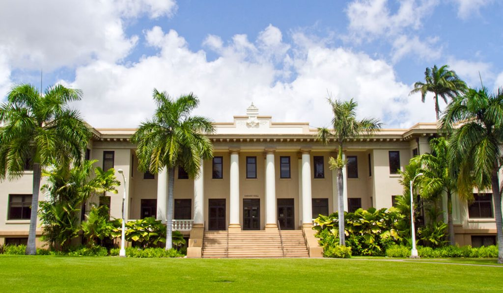 Hawaii Hall was the university's first permanent building