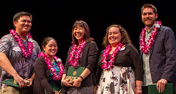 Outstanding Academic Advisor Unit awardees: Andrew T. Nguyen, Megan S. Terawaki, Megumi Makino-Kanehiro, Eve Millett and Matthew T. Eng