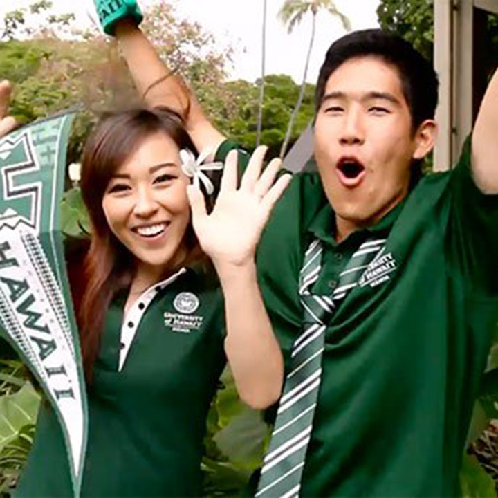 Two students cheering