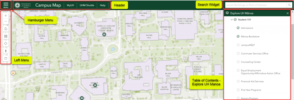 "The campus map features a ""hamburger"" menu, left menu, header area, search widget, and a table of contents area to explore UH Manoa"
