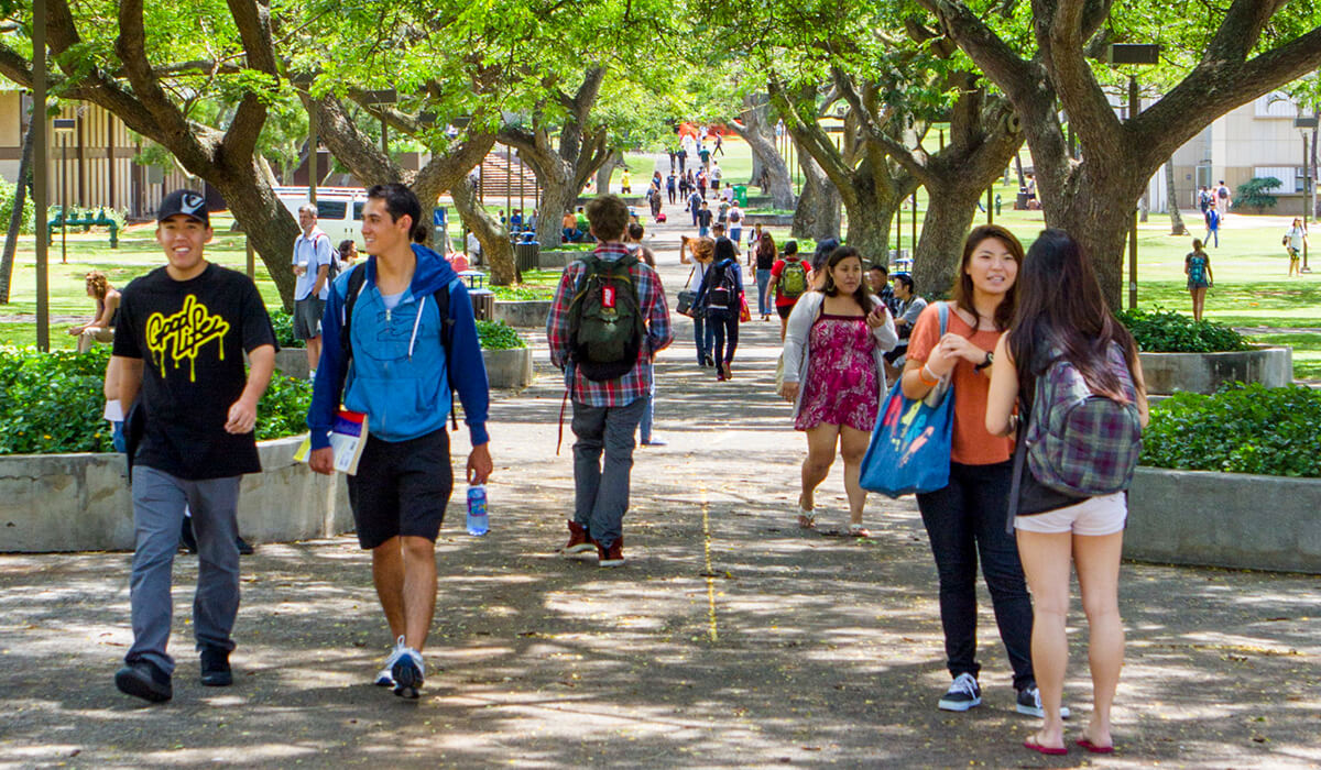 students walking on McCarthy Mall