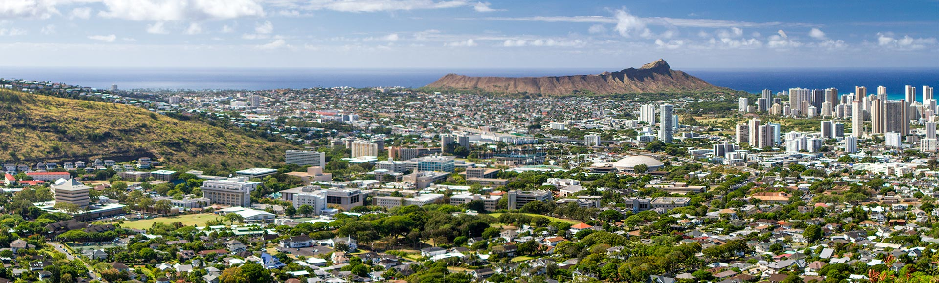Vie of the UH Manoa campus with Diamond Head in the distance