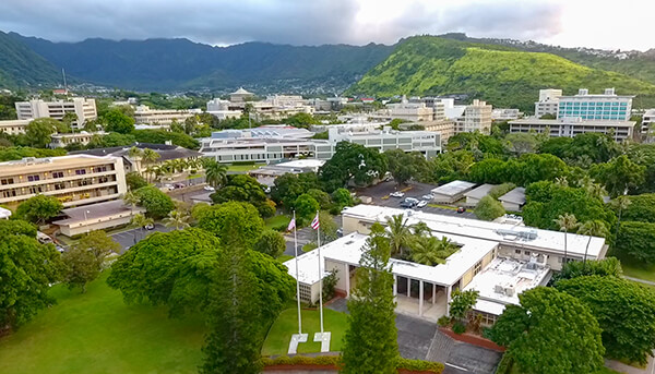 The Manoa campus as seen from above