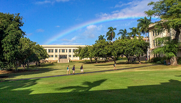 The Manoa Quad With Students In The Foreground And A Rainbow In The Background